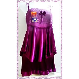 DESIGNER IMPORTED 2 PIECE  BABYDOLL SET IN SATIN AND NET-PURPLE