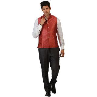 Amora Designer Ethnic Peach Solid Blended Jute Koti (Waistcoat) For Men