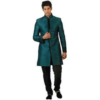 Amora Designer Ethnic Teal Blended Silk Indo-Western Sherwani For Men