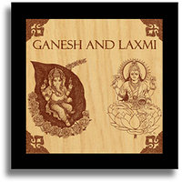 Ganesh And Laxmi Wooden Engraved Wooden Plaque