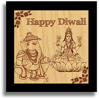 Happy Diwali Ganesh And Laxmi Wooden Engraved Plaque