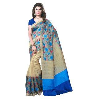 Krishnam Fashion Multicolor Cotton Printed Saree With Blouse