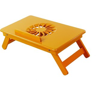 IBS Heavy Duty Kids Office Study Reading Adjustable Wooden Orange Woodd Portable Laptop Table (Finish Color - Orange)