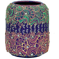 VarEesha Handpaited Tarracota Purple Studded Vase