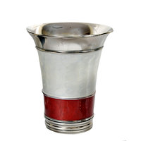 VarEesha Steel Silver And Red Metal Vase