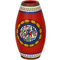 VarEesha Handpainted Earthen Vase Red
