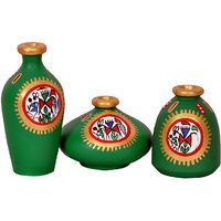 VarEesha Green Miniature Terracotta Pots Set