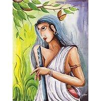 Gloob Inner Framed Canvas Wall Painting Of Radha Krishna Wall (GDCPGL0086M)