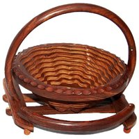 Fully Folding Wooden Fruit Basket With Handle 157SPL