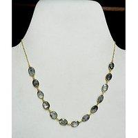 Balck rutile quartz 925 sterling silver bezel set gold plated vintage necklace
