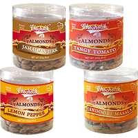 Almonds Jamaican Jerk, Tandoori Masala, Tangy Tomato & Lemon Pepper-Chocholik Dry Fruits-4 Combo Pack