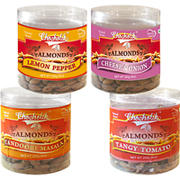Almonds Tandoori Masala, Tangy Tomato, Lemon Pepper & Cheese Onion-Chocholik Dry Fruits-4 Combo Pack