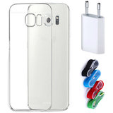 Samsung Galaxy A7 2017 A720 Soft Transparent TPU Back Cover with Nylon USB Travel Charger