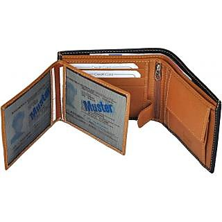 Radon Mens Casual Black+Tan Genuine Leather Wallet (9+ Card Slots) L-2