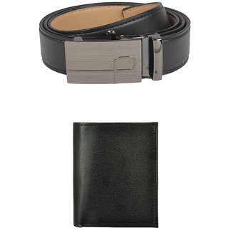 Exotique Mens Black Formal Belt & Wallet Combo (EC0002BK)