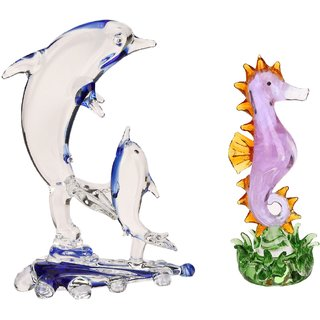 Somil Caring Mother Dolphin & Attractive Crystal Seahorse Combo-C114