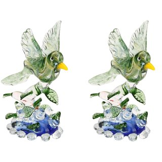 Beautiful Crystal Glass Bird Ready To Fly On A Tree Figurine (Set OF 2)-JR1