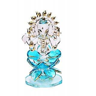 Somil Crystal Holy Blue Ganesha Sitting On Lotus