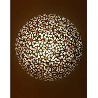 Somil New Design Glass Round Ceiling Lamp Hand Decorative with Coorful Chips & Beads-90