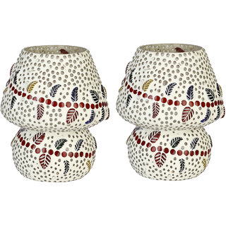Shining Multicolor Hand Decorative With Colorful Beads & Chips Glass Table Lamp