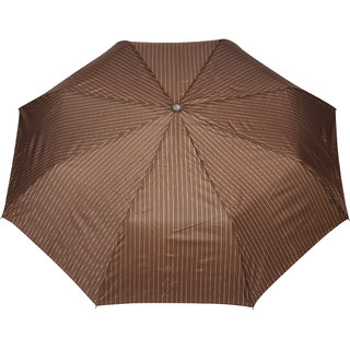 FabSeasons Brown Stripes 3 Fold Fancy Automatic Umbrella for all Weather