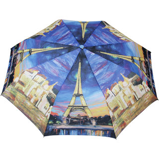 FabSeasons Blue Paris Eiffel Tower Digital Printed 3 Fold Fancy Automatic Umbrella for all Weather