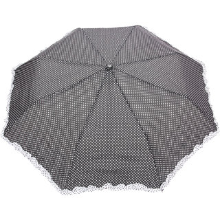 FabSeasons Black Dot Printed with frills 3 fold fancy Automatic Umbrella for Rains Summer & All Year Use