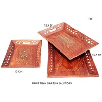 Wooden Fruit Serving Tray Set In Sheesham With Brass & Jaali Work