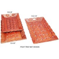 Wooden Fruit Serving Tray Set In Sheesham With Mat Design