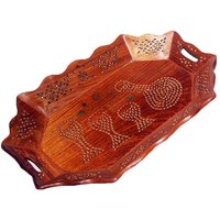 Wooden Fruit Serving Tray In Sheesham (Indian Rosewood)