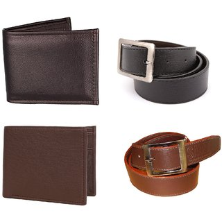 Classic 2 PU Belts and 2 Wallets combo
