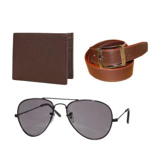 iLiv Brown UV Protection Aviator Men SG With Wallet  Belt(Combo)