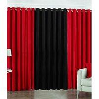 ILiv Plain Eyelet Curtain 7 Feet ( Set Of 3 )Red & Black