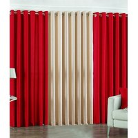 ILiv Plain Eyelet Curtain 7 Feet ( Set Of 3 )Red & Cream
