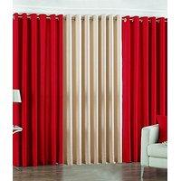 ILiv Plain Eyelet Curtain 9 Feet ( Set Of 3 )Red & Cream