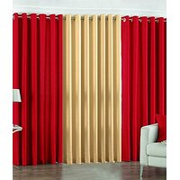 ILiv Plain Eyelet Curtain 7 Feet ( Set Of 3 )Red & Fawn