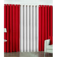 ILiv Plain Eyelet Curtain 9 Feet ( Set Of 3 )Red & White