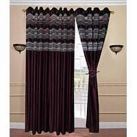 ILiv 3D Tissue With Brown Crush Curtain 7Ft ( Set Of 2 )