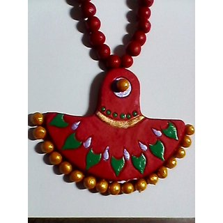 Beautiful Terracotta Necklace Red And Golden