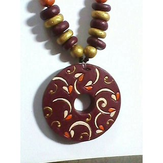 Beautiful Terracotta Necklace Mehroon And Golden