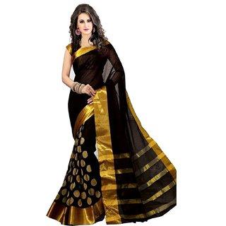 bhuwal fashion black zari embroiderd poly cotton saree-bf134