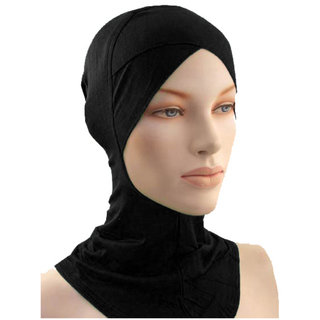 Hijab CRISS CROSS Ninja BLACK Under Scarf Abaya Head Cover Women Stole Burqa Hair Ladies Chemo Cap Hat