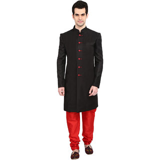 indian ATTIRE Designer Ethnic Blended Jute Black Indo-Western Sherwani For Men