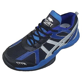 Port Mens Jumper Blue Black Pu Badminton Shoes