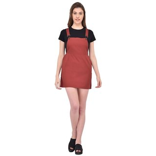 Rigo Maroon Cotton Self Design Dungarees For Women