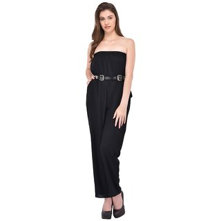 Rigo Black Rayon Self Design Jumpsuits For Women