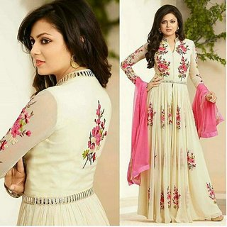 Bhuwal Fashion Cream Georgette Floral Semi Stitched Gown-BF159