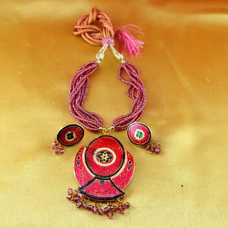 Necklace Gold Plated Stone Meenakari Cz Ad Moti Pearl Polki Kundun With Earing