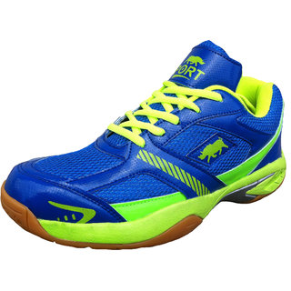 Port Mens Street Runner Blue Green Pu Badminton Shoes