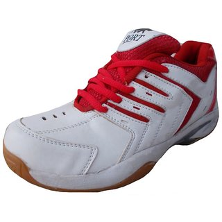 Port Mens Endeavor White Red Pu Badminton shoes